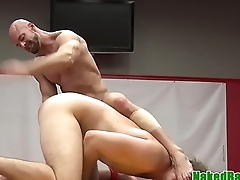 Athletic hunk rimmed during wrestling