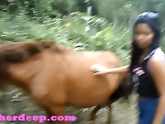 HD Heather Deep 4 wheeling on scary fast quad and Peeing take an interest in to horses in the jungle