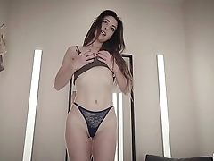 Spanish Lorena bangs her ass with a dildo in a lingerie shop