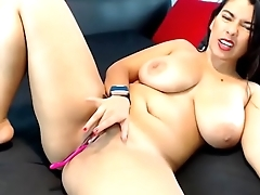 Latin slut pussy rubbing tease