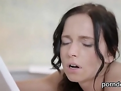 Sultry college girl is seduced and poked by her elder schoolteacher