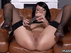 Frisky czech chick stretches her drenched honey pot to the special