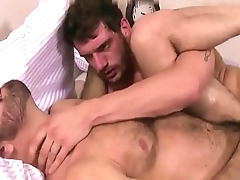 Twosome bearded men fucking with passion