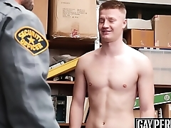 Bearded security officer pounding young thiefs tight ass