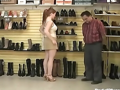 Redhead humiliates store owner