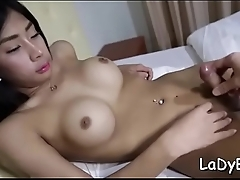Cute ladyboy in a brutal action