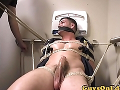 Male concerned agree with restrained  for edging blowjob