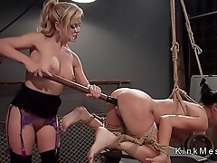 Huge tits Milf slave anal fucked in lezdom