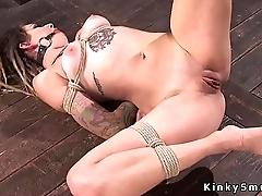 Hanged upside down slave nipples pulled