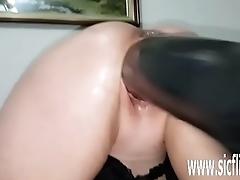 Gargantuan dildo fucking amateur MILF