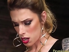 Blonde transgender babe analfucks sub