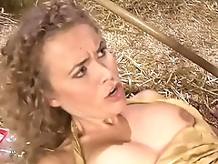 Loveliness blonde milf slammed by a younger boy in a barn