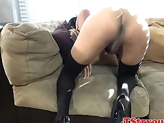 Casting trans babe jerks off her dick