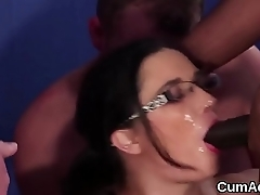 Kinky hottie gets cumshot on her face swallowing all the juice