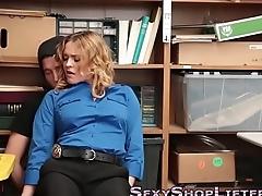 Busty amateur takes cum