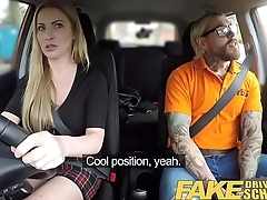 Fake Driving School Fake instructors hot passenger car fuck with bosomy blonde minx