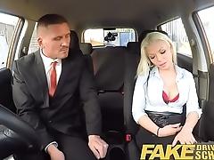 Fake Kinetic School Busty blonde examiners sexual skills secures her job