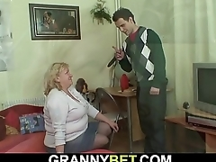 Huge old grandma gives head and rides dick