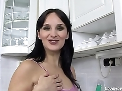 Black haired knockout is pregnant and loves sex