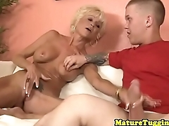 Faketit mature jerking midgets dick