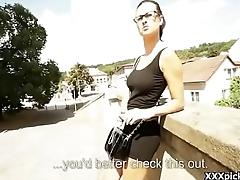 Public Pickup Girl Seduces Tourist For Cash 13