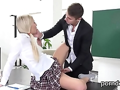 Nice college girl is teased and screwed by will not hear of senior teacher