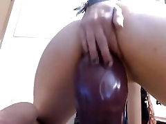 HOT SKINNY GIRL RIDES MONSTER DILDO ON CAM (bit.do/bonga-cams user: via0300)