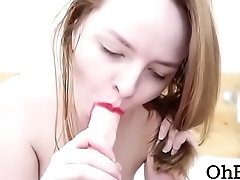 REDHEAD WITH RED LIPSTICK GIVES SLOPPY BLOWJOB