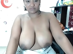 Slutty ebony oiled big boobs tease