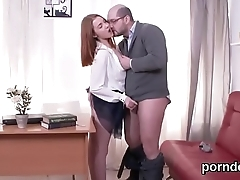 Kissable schoolgirl gets tempted and plowed by her elderly teacher