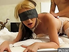 Blindfolded TS blowjobs and ass banged