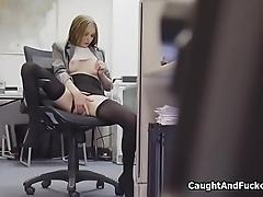 Office masturbation turns to hot fuck