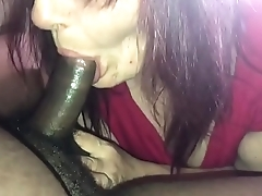 Old lady friend sucks black cock and swallows again
