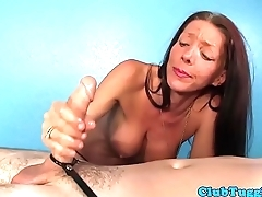 MILF masseuse tugs dick with hands and knockers