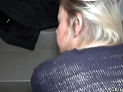 Blonde gets paid for public blowjob