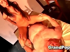Monster dong drilling shaved pussy