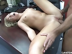 Doggy style pounding for a thirsting blonde chick