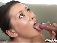 Pretty young mom seduces lad
