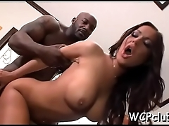 Gal gets dark knob in ass