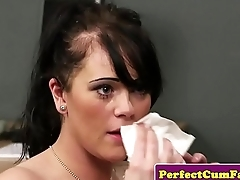 Cum loving UK chick blows two dicks