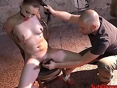 Nipple clamp bdsm sub tied to chair and toyed