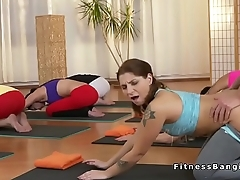 Yoga coach bangs babes in threesome