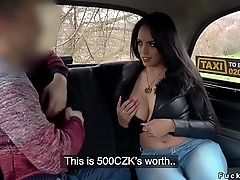 Tanned big ass amateur bangs in fake taxi
