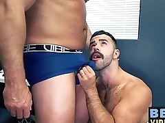 Hairy bear Teddy Torres breeds cock stimulated Tyler Reed