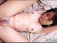 Constricted thai babe caresses herself
