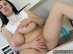 Busty Helen Star homework and masturbate in kitchen