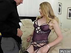 Glamour blonde TS gets her anal screwed
