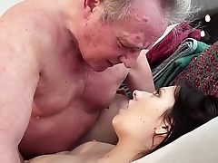 Old man Warming almost my young pussy and cums in my mouth I swallow it