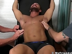 Hunk Bruno Bernal gets tickled and aroused by his three buds