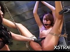 Seductive bimbo enjoys coarse servitude sex